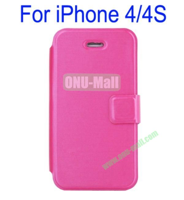 Ultrathin Magnetic Folio Stand Dormancy Case Cover for iPhone 44S(Rose)