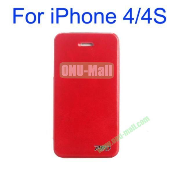 Special Design Ultrathin Leather Case Cover with Stand for iPhone 44S(Red)