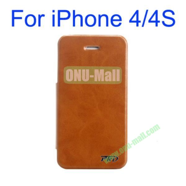 Special Design Ultrathin Leather Case Cover with Stand for iPhone 44S(Brown)
