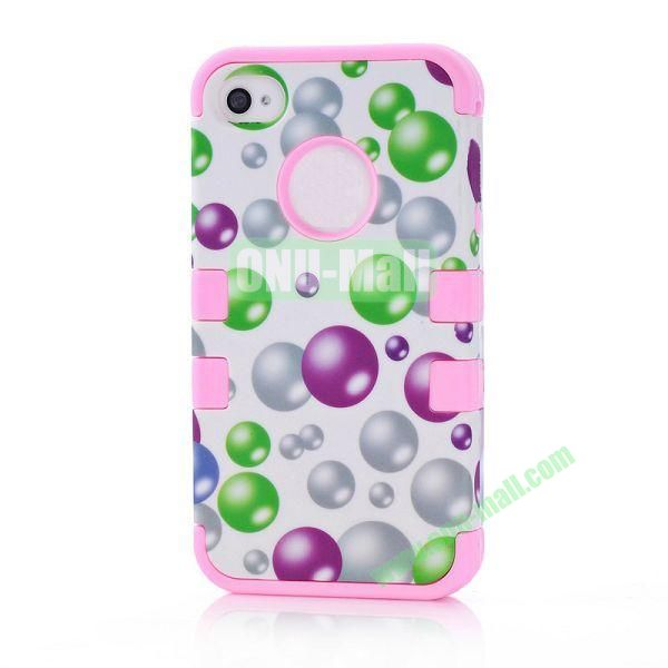 Wholesale Defender Case 3 in One Protective PC + Silicone Front and Back Cover for iPhone44S(Pink)