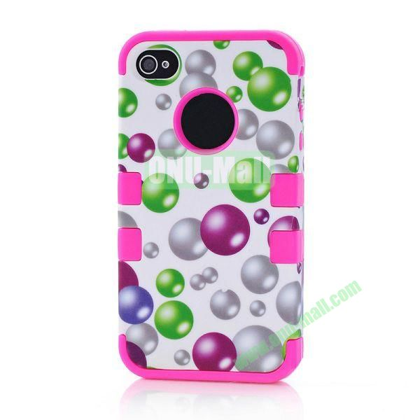 Wholesale Defender Case 3 in One Protective PC + Silicone Front and Back Cover for iPhone44S(Rose)