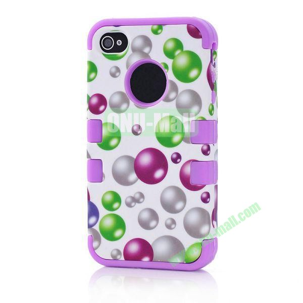Wholesale Defender Case 3 in One Protective PC + Silicone Front and Back Cover for iPhone44S(Purple)