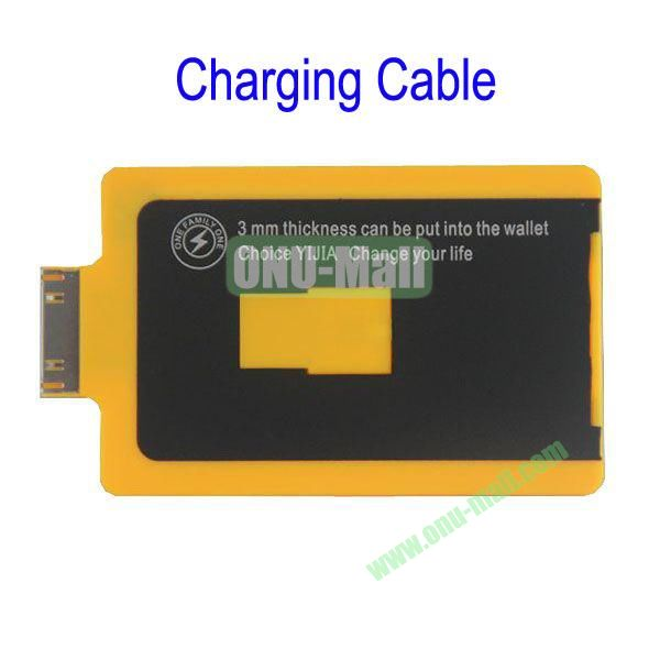 Charge Card Credit Card Sized USB Charging and Sync Cable for iPhone 4S4,iPad 2,the New iPad(Yellow)