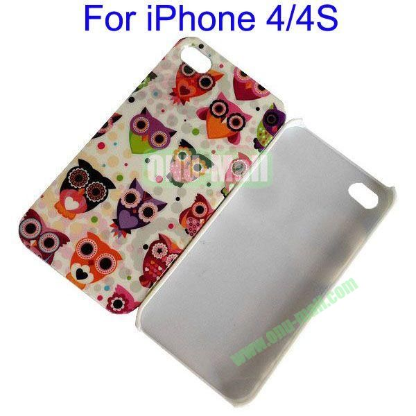 Little Owl Pattern Hard Case for iPhone 44S(White)
