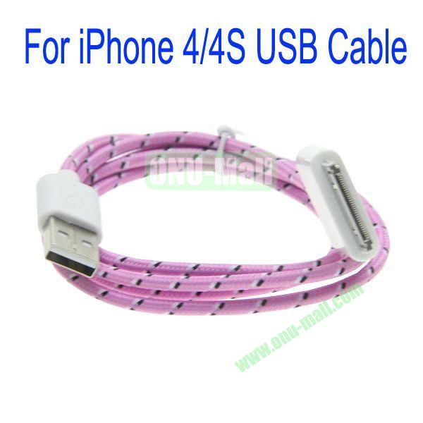 1m High Quality 30Pin to USB 2.0 Woven Nylon Fiber Sync Data And Charging Cable For iPhone 44S(Pink)