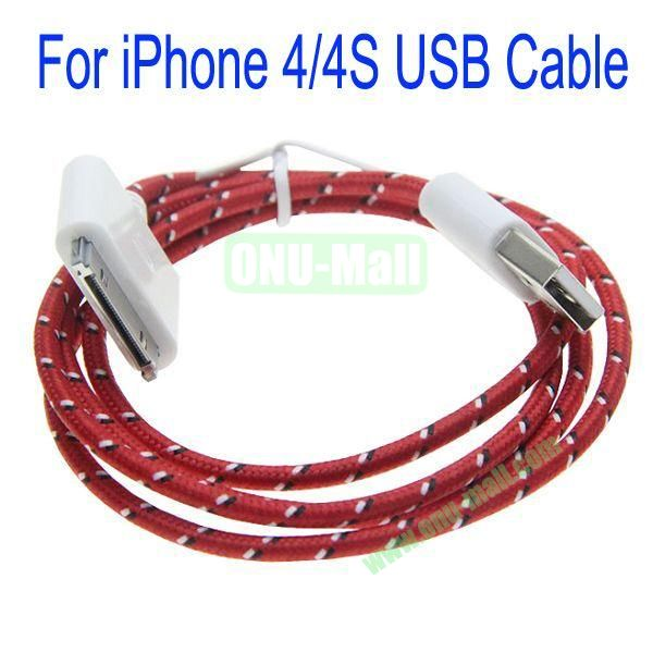 1m High Quality 30Pin to USB 2.0 Woven Nylon Fiber Sync Data And Charging Cable For iPhone 44S(Red)