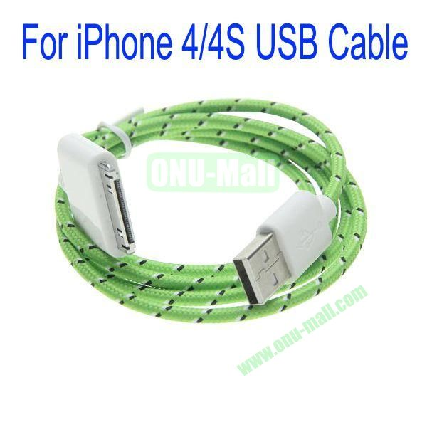 1m High Quality 30Pin to USB 2.0 Woven Nylon Fiber Sync Data And Charging Cable For iPhone 44S(Green)