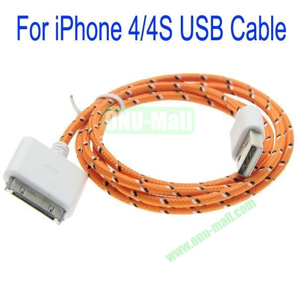 1m High Quality 30Pin to USB 2.0 Woven Nylon Fiber Sync Data And Charging Cable For iPhone 44S(Orange)