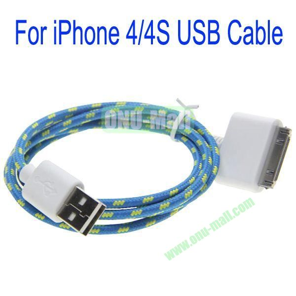 1m High Quality 30Pin to USB 2.0 Woven Nylon Fiber Sync Data And Charging Cable For iPhone 44S(Blue)