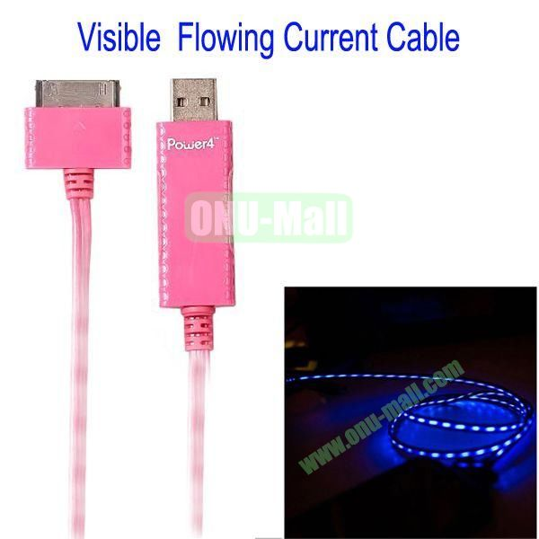Visible Blue Light Flowing Current Cable for iPod iPhone 44SiPad 4(Pink)