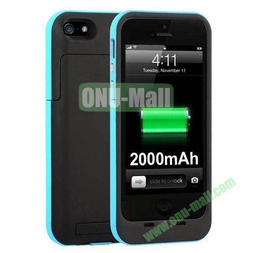 2000 mAh Capacity Rechargeable External Battery Case for iPhone 44S(Blue)