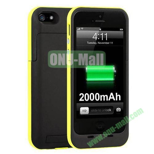 2000 mAh Capacity Rechargeable External Battery Case for iPhone 44S(Yellow)