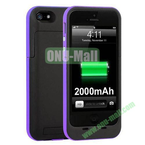 2000 mAh Capacity Rechargeable External Battery Case for iPhone 44S(Purple)