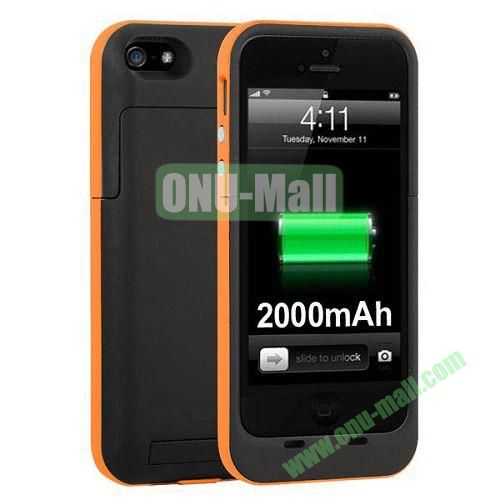 2000 mAh Capacity Rechargeable External Battery Case for iPhone 44S(Orange)