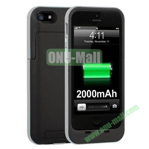 2000 mAh Capacity Rechargeable External Battery Case for iPhone 44S(Grey)