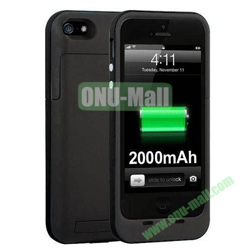 2000 mAh Capacity Rechargeable External Battery Case for iPhone 44S(Black)