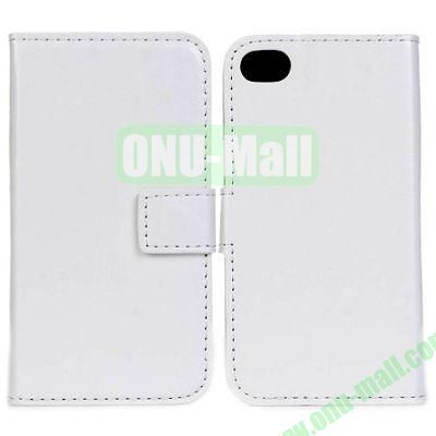 Crazy Horse Texture Leather Case with Card Slots and Stand for iPhone 44S (White)