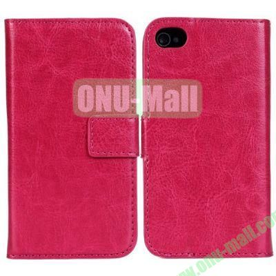 Crazy Horse Texture Leather Case with Card Slots and Stand for iPhone 44S (Rose)