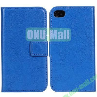 Crazy Horse Texture Leather Case with Card Slots and Stand for iPhone 44S (Blue)