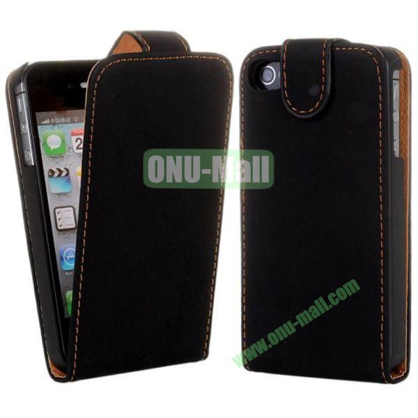 Magnetic Vertical Flip Leather Case for iPhone 44S (Black)