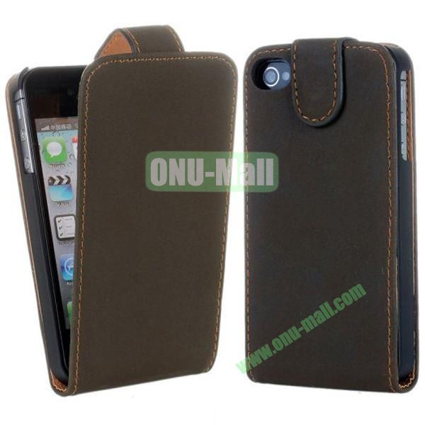 Magnetic Vertical Flip Leather Case for iPhone 44S (Brown)