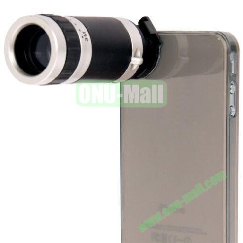 High-Quality 8X Zoom Lens Mobile Phone Telescope + Crystal Case for iPhone 4 & 4S (Grey)