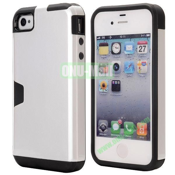 Card Holder Hybrid PC and TPU Case for iPhone 4S 4 (Silver)