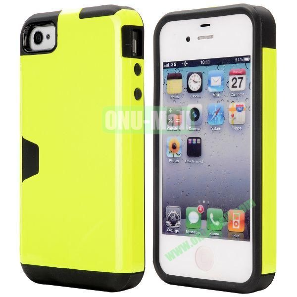Card Holder Hybrid PC and TPU Case for iPhone 4S 4 (Yellow)