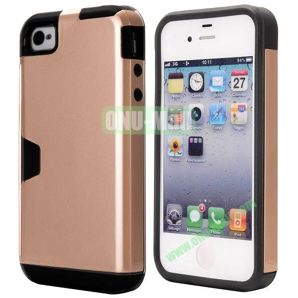 Card Holder Hybrid PC and TPU Case for iPhone 4S 4 (Champagne)