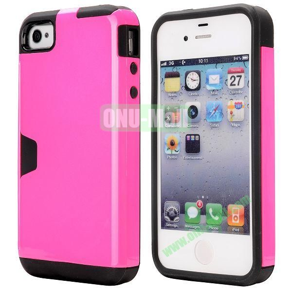 Card Holder Hybrid PC and TPU Case for iPhone 4S 4 (Rose)