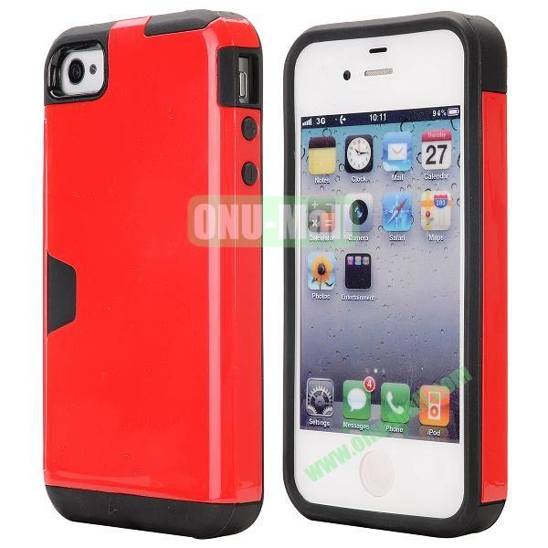 Card Holder Hybrid PC and TPU Case for iPhone 4S 4 (Red)
