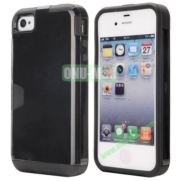 Card Holder Hybrid PC and TPU Case for iPhone 4S 4 (Black)