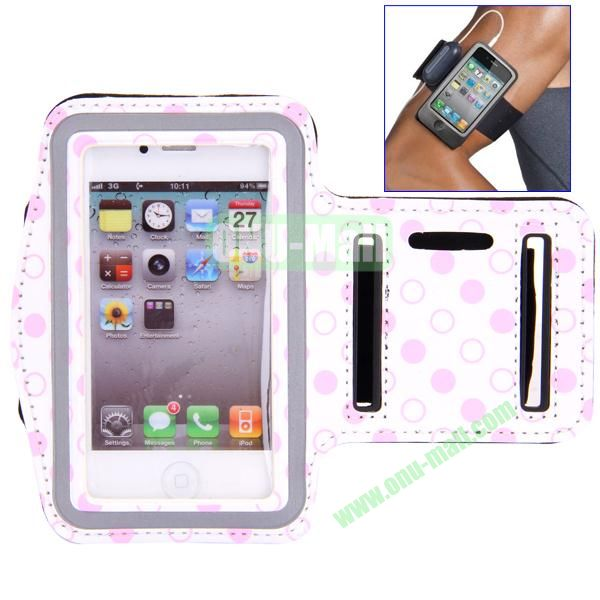 Polka Dot Pattern Running Sports Leather Case Armband Case for iPhone 44S (White)
