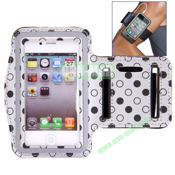 Polka Dot Pattern Running Sports Leather Case Armband Case for iPhone 44S (Grey)