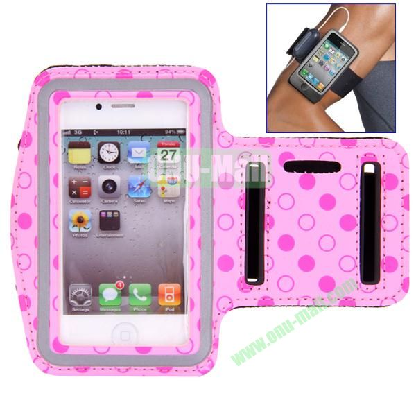Polka Dot Pattern Running Sports Leather Case Armband Case for iPhone 44S (Pink)