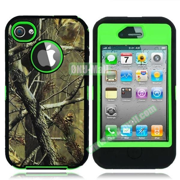 Robot Series 3 in 1 Pattern Leather Coated Silicone and PC Case for iPhone 4S with Kickstand (Tree Branch Green)