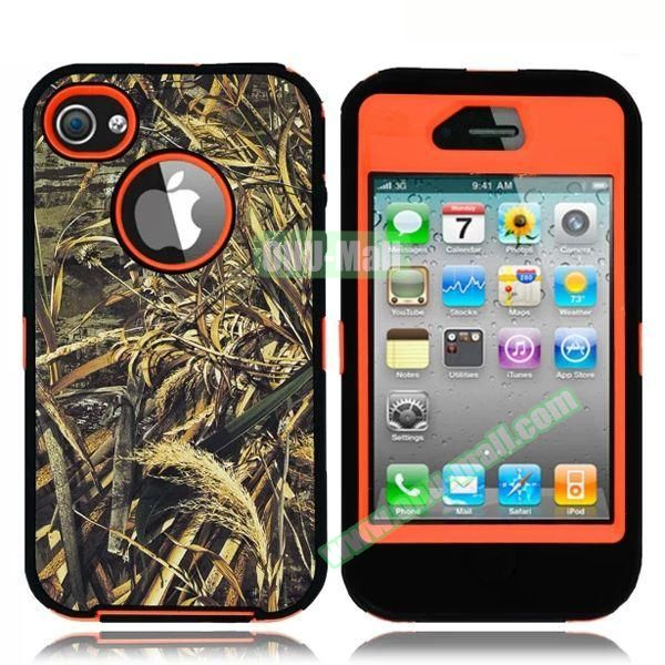 Robot Series 3 in 1 Pattern Leather Coated Silicone and PC Case for iPhone 4S with Kickstand (Withered Leaves Orange)