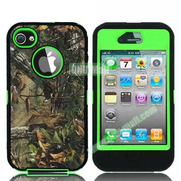 Robot Series 3 in 1 Pattern Leather Coated Silicone and PC Case for iPhone 4S with Kickstand (Withered Tree and Leaves Green)