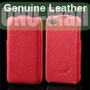 K-cool Litchi Texture Vertical Flip Genuine Leather Case for iPhone 4S  4 (Red)