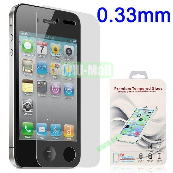 0.33mm Shatterproof Tempered Glass Screen Protector Film Guard for for iPhone 4 4S