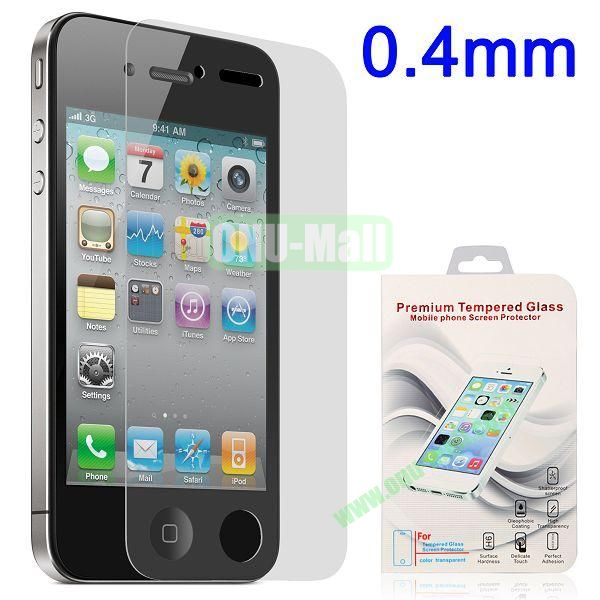 0.4mm Shatterproof Tempered Glass Screen Protector Film Guard for for iPhone 4 4S