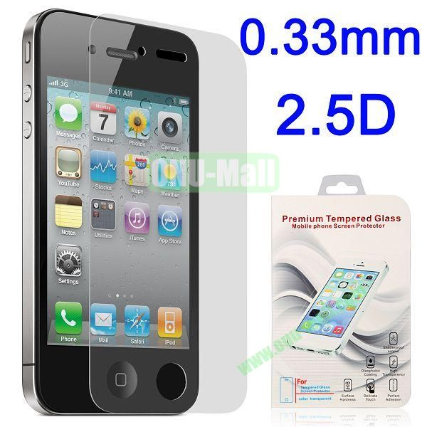 2.5 Degree Arc Incision 0.33mm Shatter-proof Tempered Glass Screen Protector Film Guard for for iPhone 4 4S