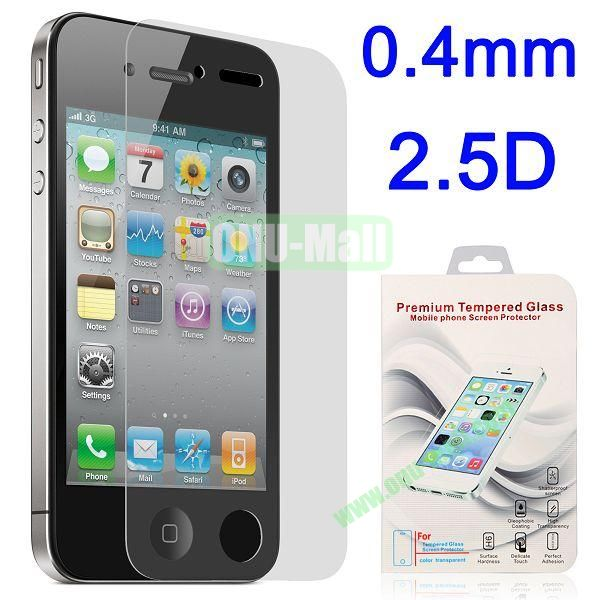 2.5 Degree Arc Incision 0.4mm Shatter-proof Tempered Glass Screen Protector Film Guard for for iPhone 4 4S