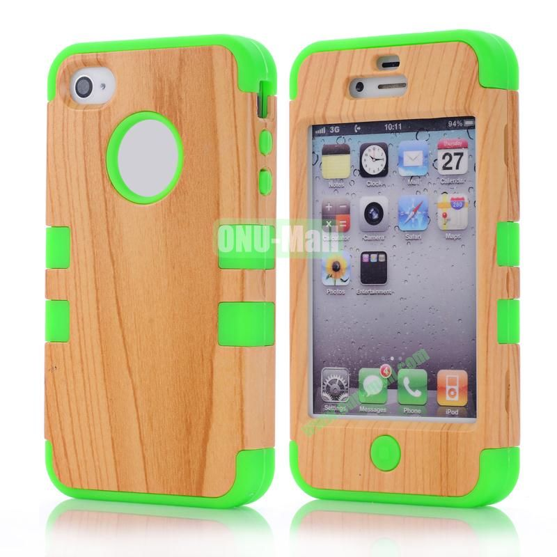Wood Pattern Antiskid Detachable Hard PC and Silicone Case for iPhone4 4S (Green)