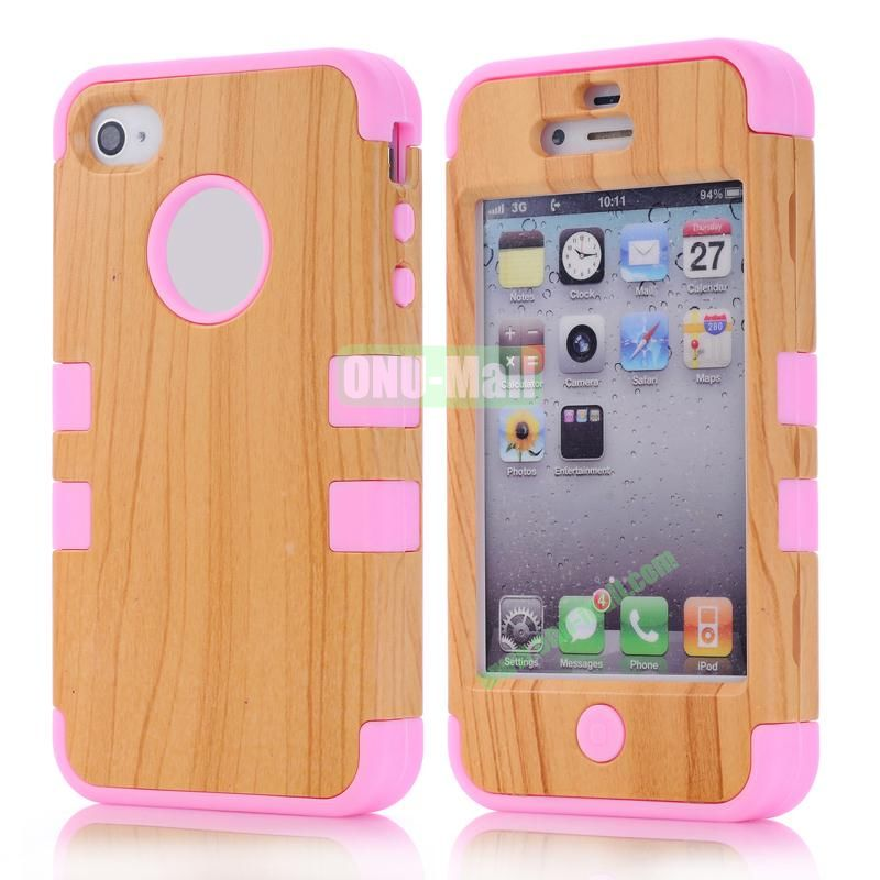 Wood Pattern Antiskid Detachable Hard PC and Silicone Case for iPhone4 4S (Pink)