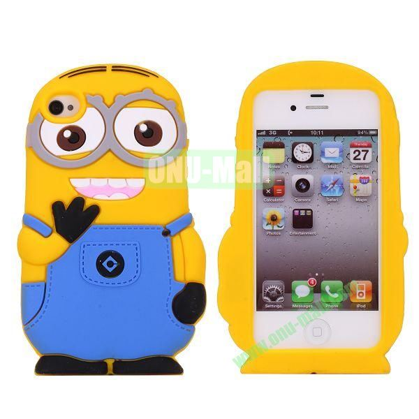 Newest Minions Pattern Silicone Case For iPhone 4S4 (a minion with two eyes)