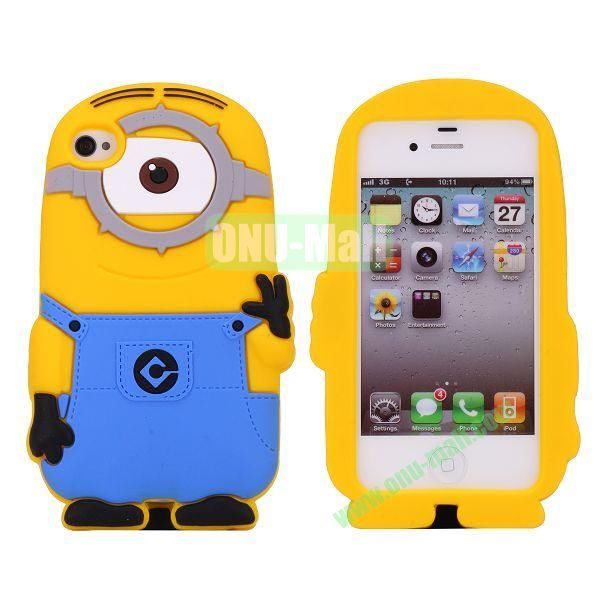 Newest Minions Pattern Silicone Case For iPhone 4S4 (a minion with one eye)