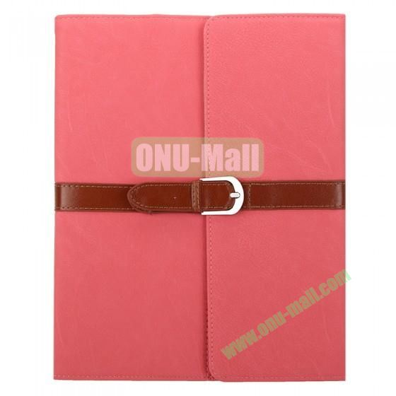 Leather Case for iPad 2 The New iPadiPad 4 with Belt and Buckle(Pink)