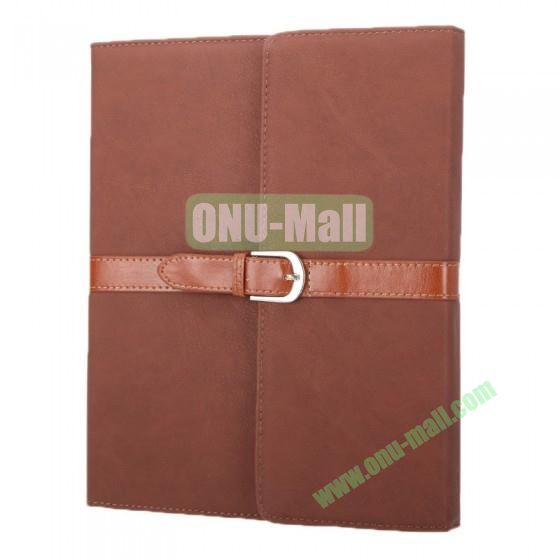 Leather Case for iPad 2 The New iPadiPad 4 with Belt and Buckle(Brown)