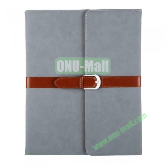 Leather Case for iPad 2 The New iPadiPad 4 with Belt and Buckle(Grey)